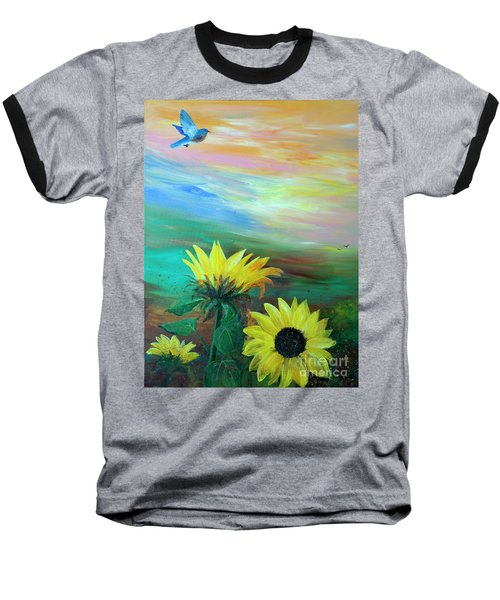 Bluebird Flying Over Sunflowers Baseball T-Shirt