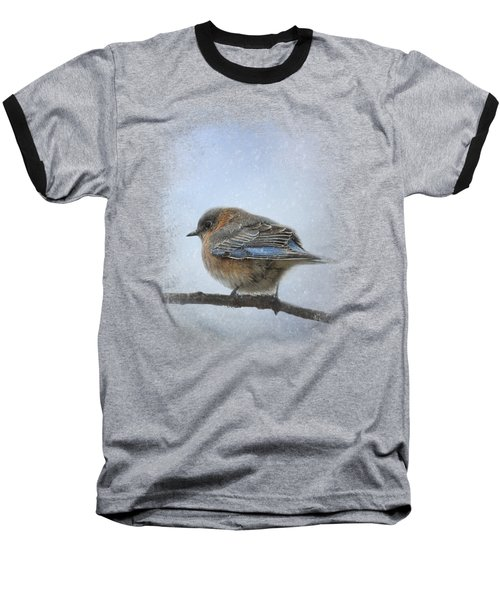 Bluebird In The Snow Baseball T-Shirt by Jai Johnson