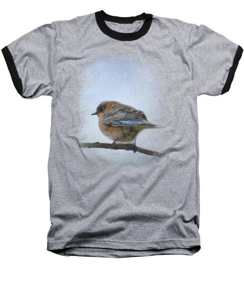 Bluebird In The Snow Baseball T-Shirt