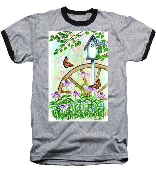 Bluebirds And Butterflies Baseball T-Shirt
