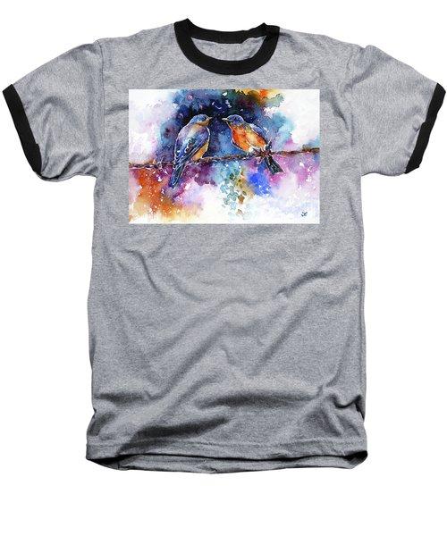 Baseball T-Shirt featuring the painting Bluebirds by Zaira Dzhaubaeva