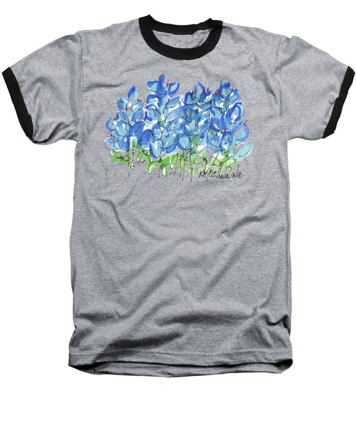 Bluebonnet Dance Watercolor By Kmcelwaine Baseball T-Shirt