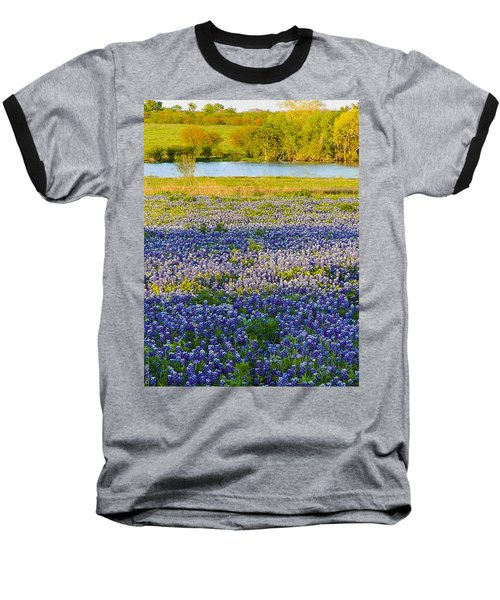 Bluebonnet Field Baseball T-Shirt by Debbie Karnes