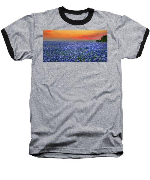 Bluebonnet Sunset Vista - Texas Landscape Baseball T-Shirt