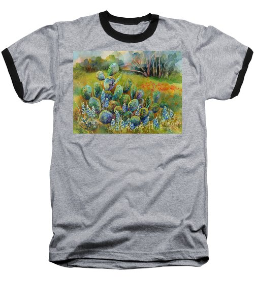 Bluebonnets And Cactus Baseball T-Shirt