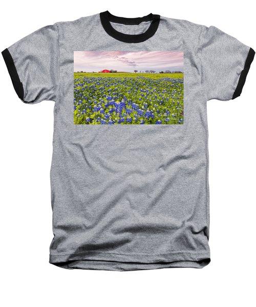 Bluebonnets And Red Barn In Washington County - Chappell Hill - Brenham - Texas Baseball T-Shirt