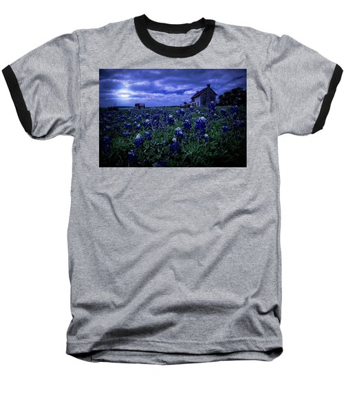 Baseball T-Shirt featuring the photograph Bluebonnets In The Blue Hour by Linda Unger