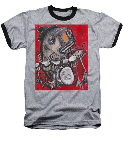 Blues Cat Drums Baseball T-Shirt
