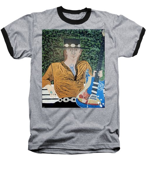 Baseball T-Shirt featuring the painting Blues In The Park With Stevie Ray Vaughan. by Ken Zabel