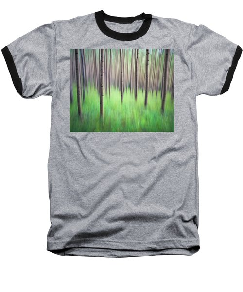 Blurred Aspen Trees Baseball T-Shirt