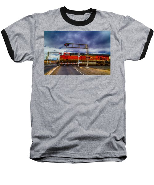 Bnsf 7682 Crossing Baseball T-Shirt by Bartz Johnson