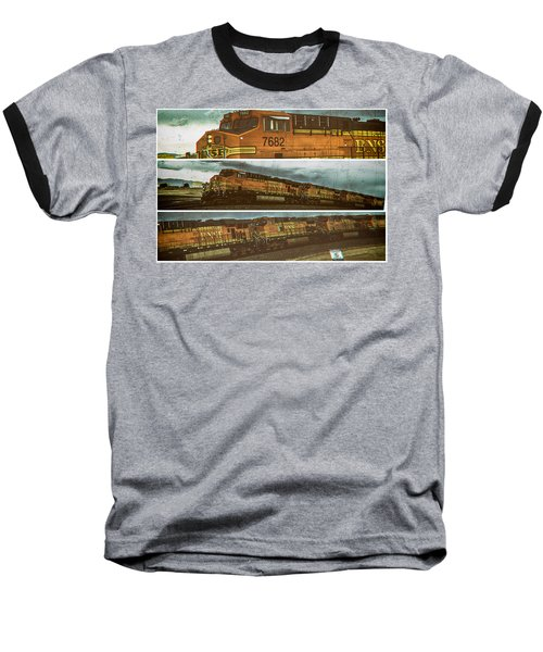 Bnsf 7682 Triptych  Baseball T-Shirt by Bartz Johnson