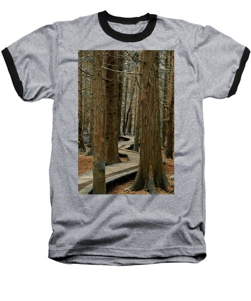 Baseball T-Shirt featuring the photograph Boardwalk Among Trees by Scott Holmes