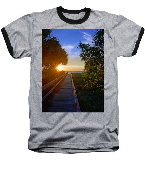 Sunset At The End Of The Boardwalk Baseball T-Shirt