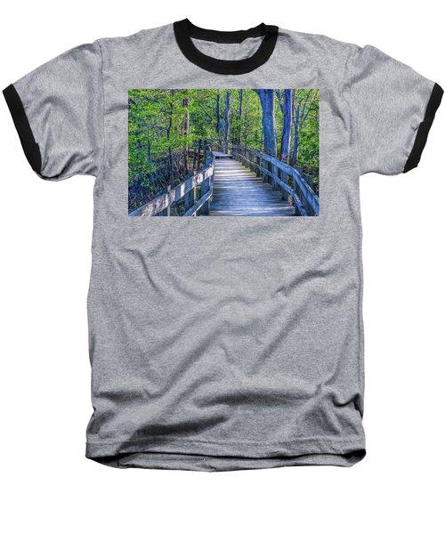 Boardwalk Going Into The Woods Baseball T-Shirt