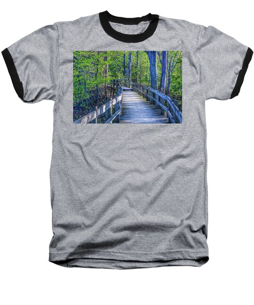 Boardwalk Going Into The Woods Baseball T-Shirt