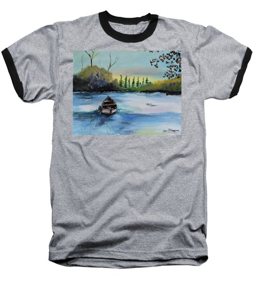 Baseball T-Shirt featuring the painting Boat Abandoned On The Lake by Jan Dappen