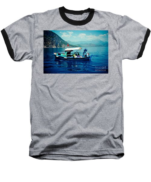 Boat And Sapfir Sea Seascape Artmif Baseball T-Shirt