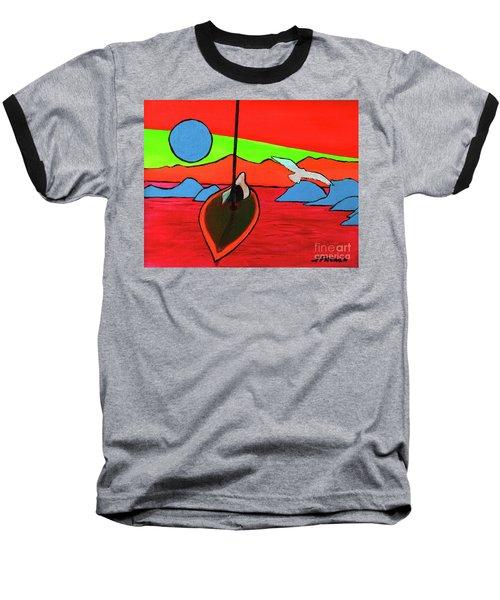 Boat, Bird And Moon Baseball T-Shirt