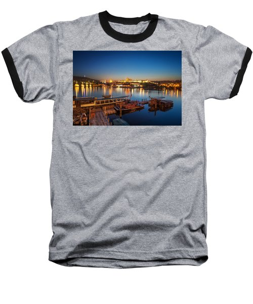 Boat Dock Near St. Vitus Cathedral, Prague, Czech Republic. Baseball T-Shirt
