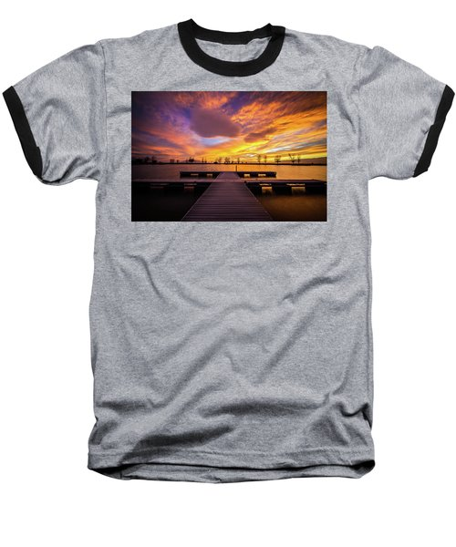 Baseball T-Shirt featuring the photograph Boat Dock Sunset by Wesley Aston