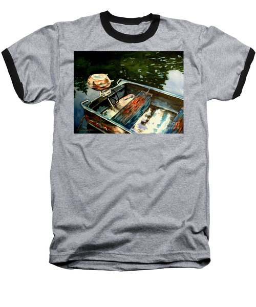 Baseball T-Shirt featuring the painting Boat In Fog 2 by Marilyn Jacobson