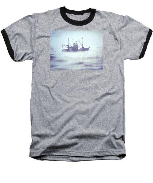 Boat In The Foggy Sea Baseball T-Shirt