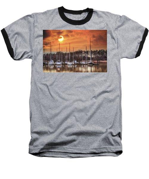 Boat Marina On The Chesapeake Bay At Sunset Baseball T-Shirt