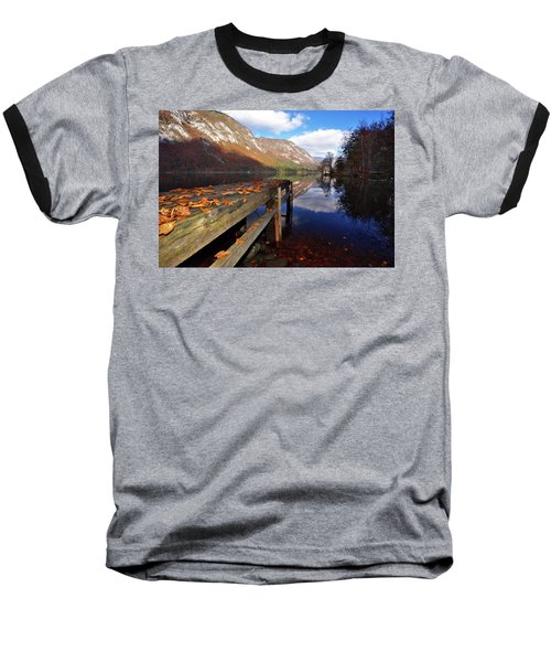 Boat Mooring At Lake Bohijn Baseball T-Shirt by Graham Hawcroft pixsellpix