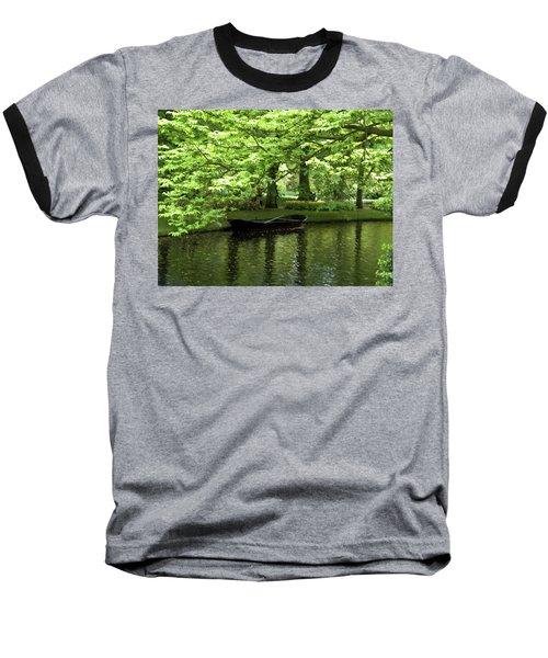 Boat On A Lake Baseball T-Shirt by Manuela Constantin