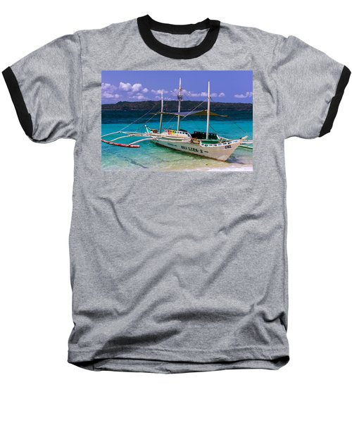 Boat On Puka Beach, Boracay Island, Philippines Baseball T-Shirt
