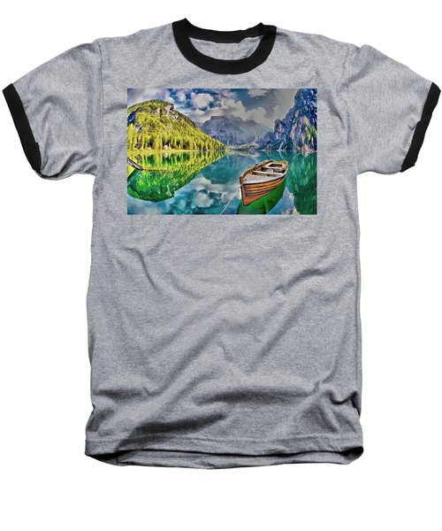 Boat On The Lake Baseball T-Shirt by Maciek Froncisz
