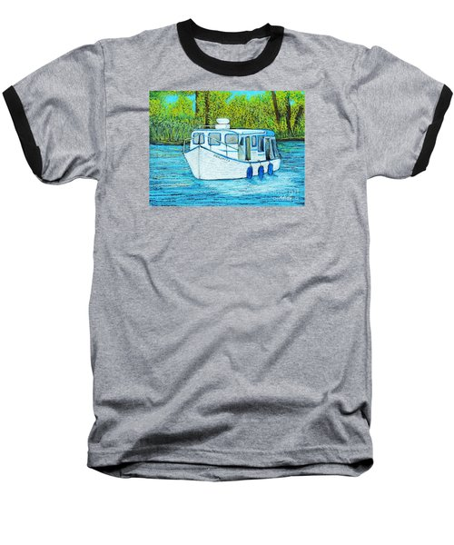 Boat On The River Baseball T-Shirt by Reb Frost