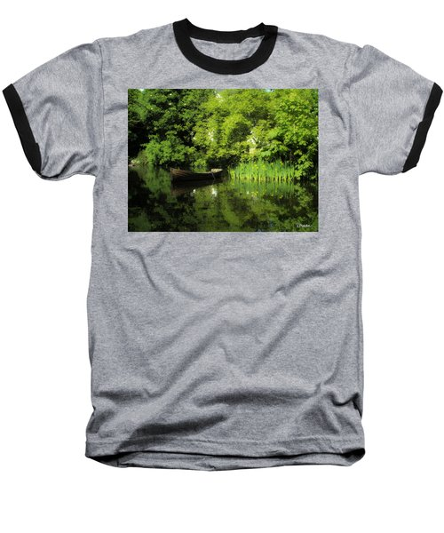 Boat Reflected On Water County Clare Ireland Painting Baseball T-Shirt