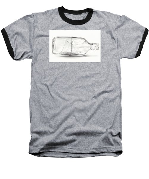 Baseball T-Shirt featuring the drawing Boat Stuck In A Bottle by Meagan  Visser