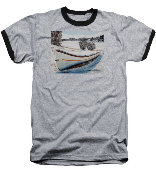 Baseball T-Shirt featuring the painting Boat Under Snow by Marilyn  McNish