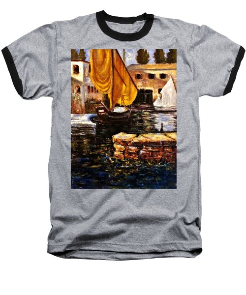 Boat With Golden Sail,san Vigilio  Baseball T-Shirt by Cristina Mihailescu