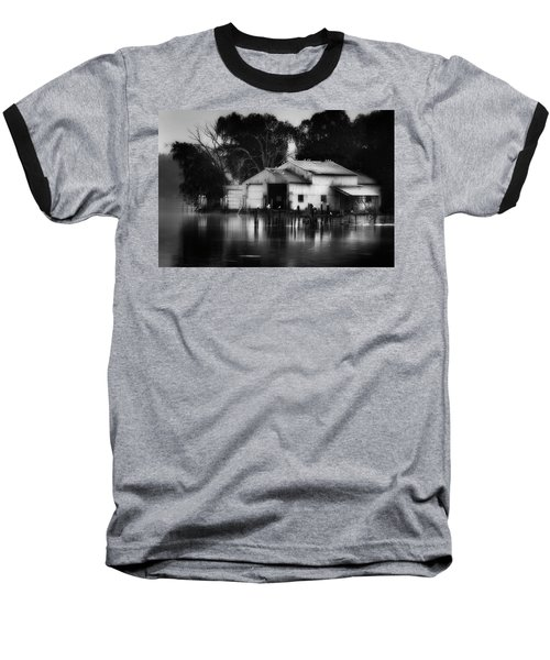 Baseball T-Shirt featuring the photograph Boathouse Bw by Bill Wakeley