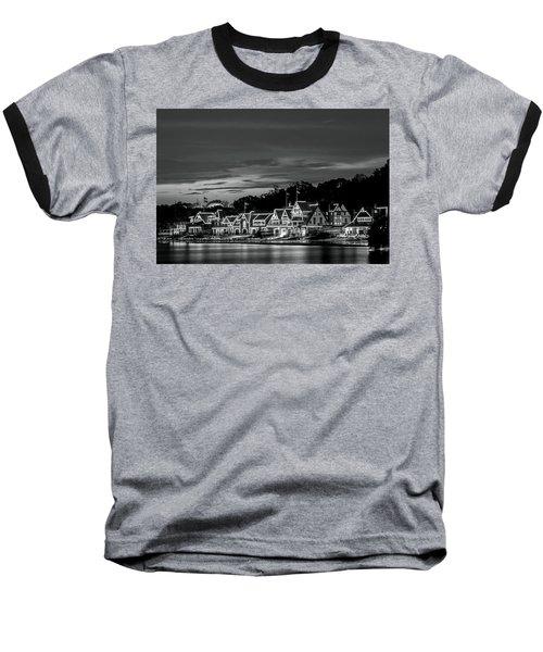 Boathouse Row Philadelphia Pa Night Black And White Baseball T-Shirt