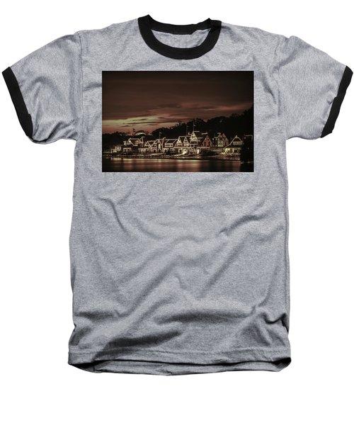 Boathouse Row Philadelphia Pa Night Retro Baseball T-Shirt