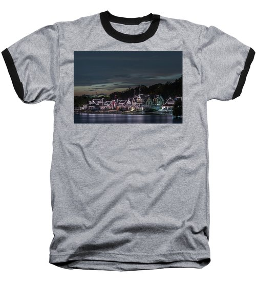 Boathouse Row Philly Pa Night Baseball T-Shirt by Terry DeLuco