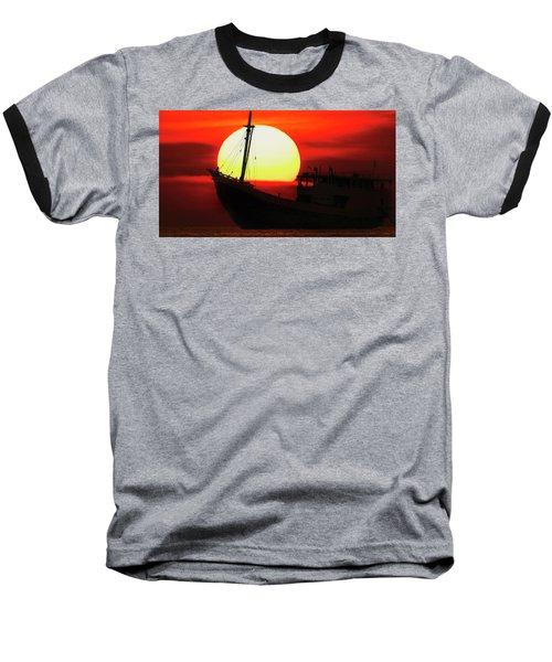 Boatman Enjoying Sunset Baseball T-Shirt