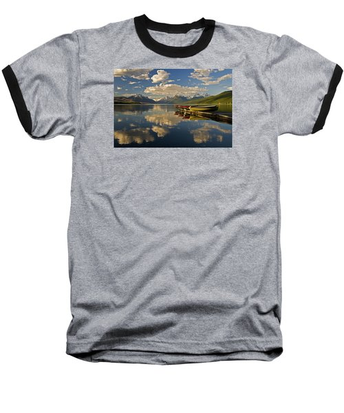 Boats At Lake Mcdonald Baseball T-Shirt