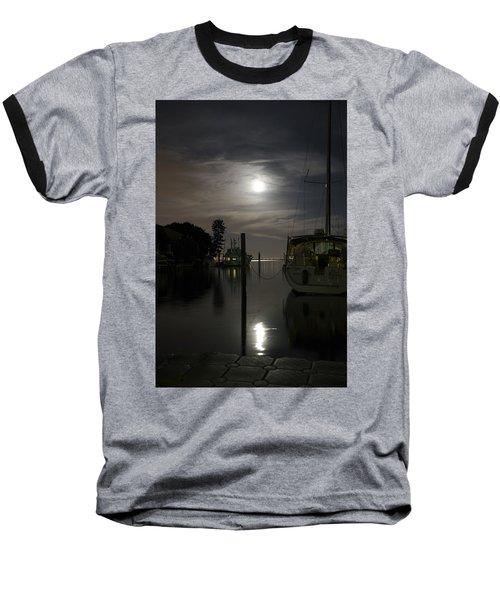 Boats At Moon Rise Baseball T-Shirt
