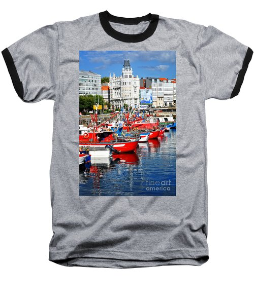 Boats In The Harbor - La Coruna Baseball T-Shirt by Mary Machare