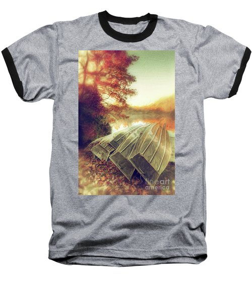 Baseball T-Shirt featuring the painting Boats On Price Lake During Autumn Sunrise Ap by Dan Carmichael