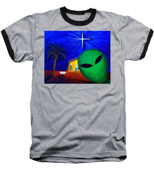 Baseball T-Shirt featuring the painting Bob At The Manger by Lola Connelly