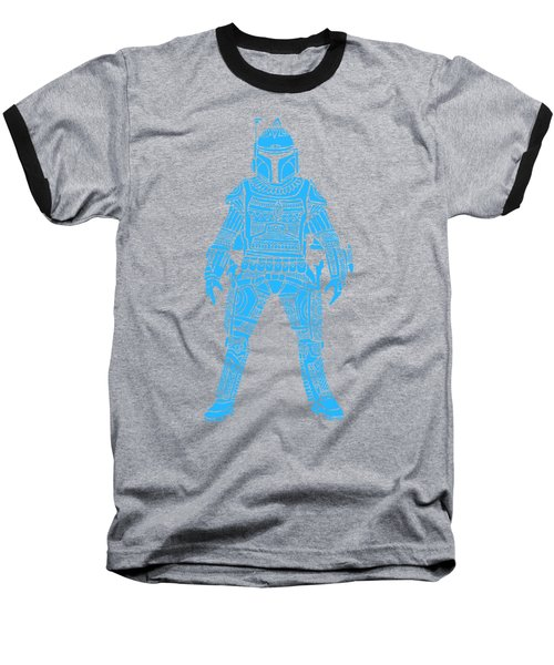 Boba Fett - Star Wars Art, Blue Baseball T-Shirt