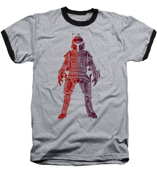 Boba Fett - Star Wars Art, Red Violet Baseball T-Shirt
