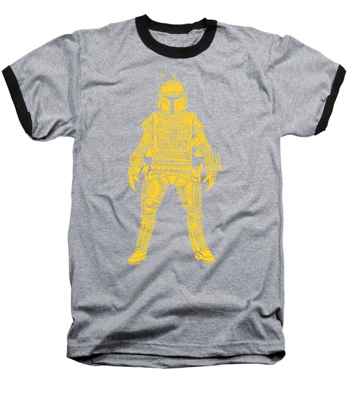 Boba Fett - Star Wars Art, Yellow Baseball T-Shirt
